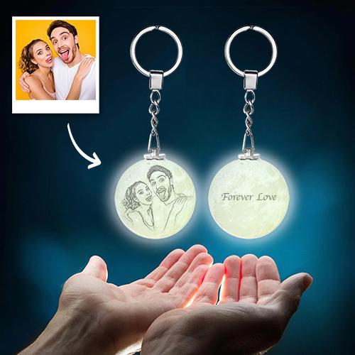 Custom Color Photo Keychain 3D Printed Moon Lamp For Couple