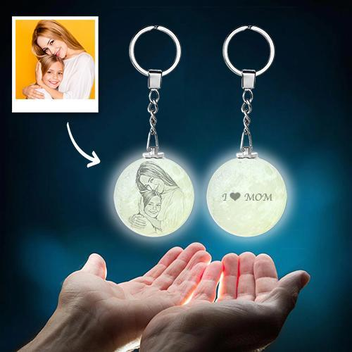 Mother's Day Gift Custom Color Photo Keychain 3D Printed Moon Lamp For Mom