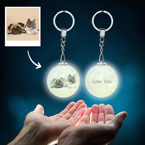 Custom Color Photo Keychain 3D Printed Moon Lamp For Pet