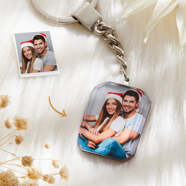 Custom Crystal Photo Keyring - Rectangle