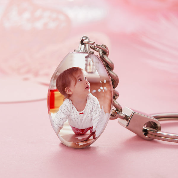 Custom Crystal Photo Keyring - Ellipse For baby