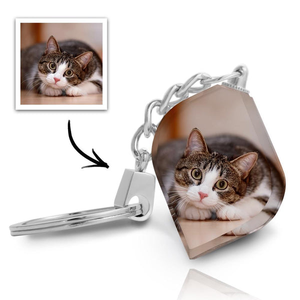 Custom Crystal Photo Keyring - Irregular