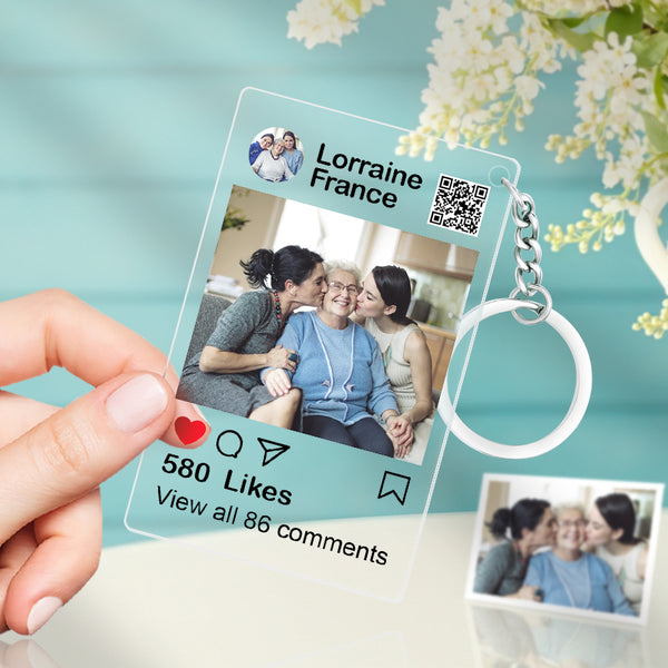 Custom Instagram Photo Acrylic Glass Keychain with Photo Personalised Gifts