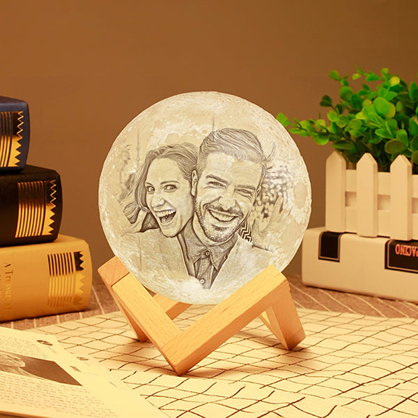 Custom 3D Printing Photo Moon Lamp With Your Text - For Pet Lover - Touch Two Colors(10cm-20cm)