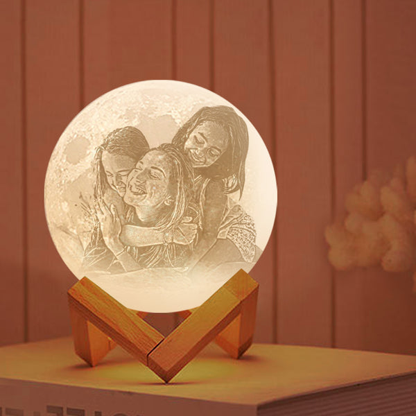 Custom 3D Printing Photo Moon Lamp With Your Text - For Family - Touch Two Colors(10cm-20cm)