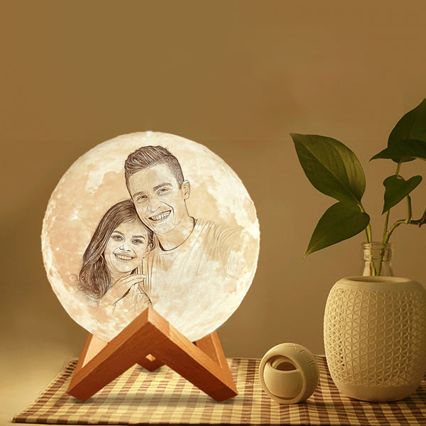 3D Custom Printing Photo Moon Lamp With Your Text - For Valentine - Tap 3 Colors(10cm-20cm)