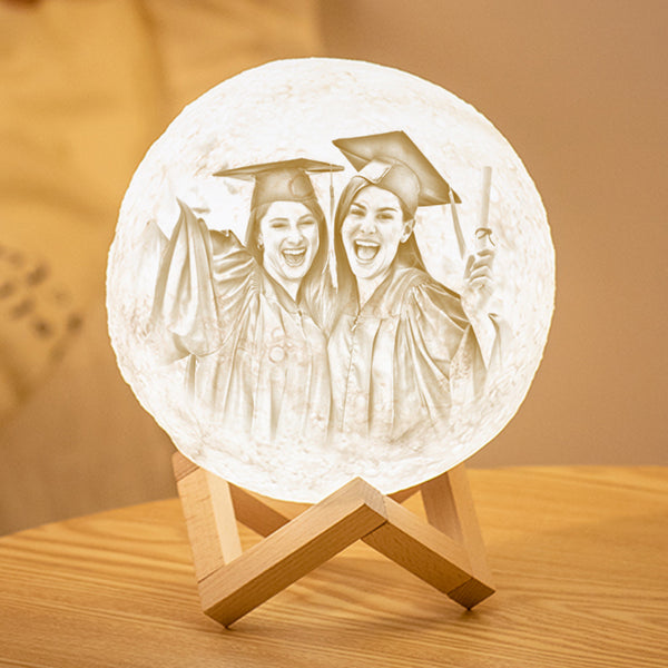 Custom 3D Printing Photo Moon Lamp With Your Text - For Friends - Tap 3 Colors(10cm-20cm)