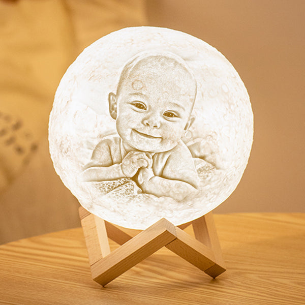 Custom 3D Printing Photo Moon Lamp With Your Text - For Baby - Tap 3 Colors(10cm-20cm)