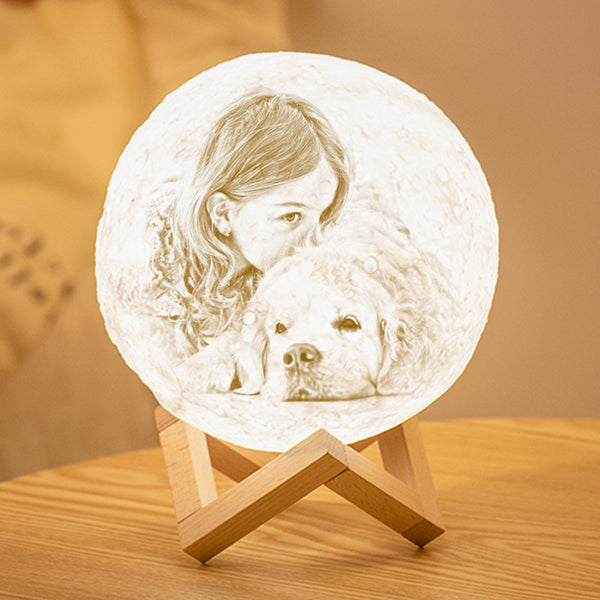 Custom 3D Printing Photo Moon Lamp With Your Text - For Pet Lover - Tap 3 Colors(10cm-20cm)