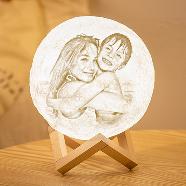 Custom 3D Printing Photo Moon Lamp With Your Text - For MUM - Tap 3 Colors(10cm-20cm)
