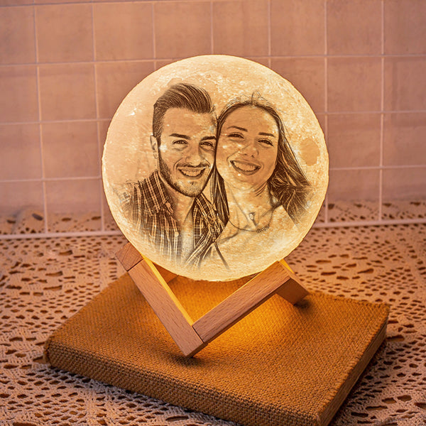 Custom 3D Printing Photo Moon Lamp With Your Text - For Valentine - Remote Control 16 Colors(10cm-20cm)