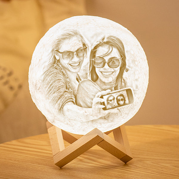 Custom 3D Printing Photo Moon Lamp With Your Text - For Friends - Remote Control 16 Colors(10cm-20cm)