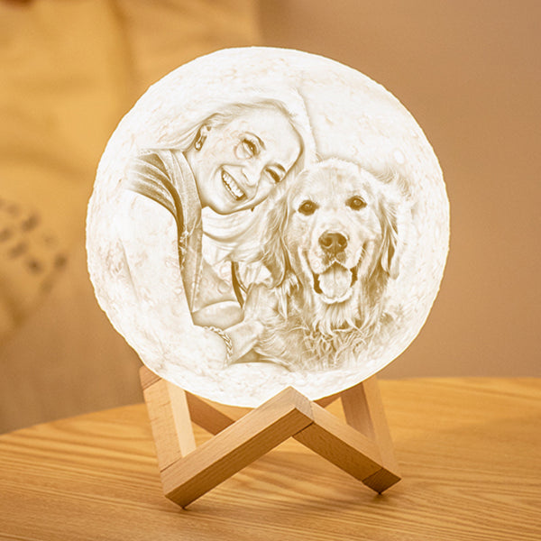 Custom 3D Printing Photo Moon Lamp With Your Text - For Pet Lover - Remote Control 16 Colors(10cm-20cm)