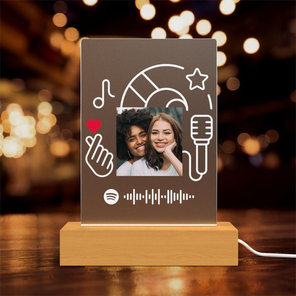 Custom Spotify Glass Led Lamp Gift Personalised Lamp Gift for Her Gift for Him Night Lights