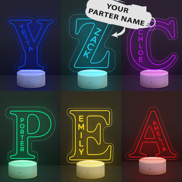 Gift for Employee Appreciation Gifts Personalised LED Night Light 26 Letter Lamps Bedroom Home Decoration Custom LED Engraved Lamp