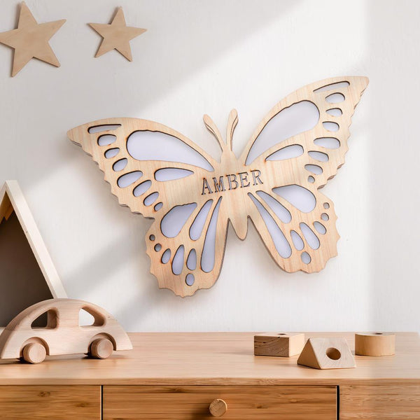 Custom Butterfly Baby Wooden Nightlight Wall Decoration LED Light Wall Light For Girls Kids