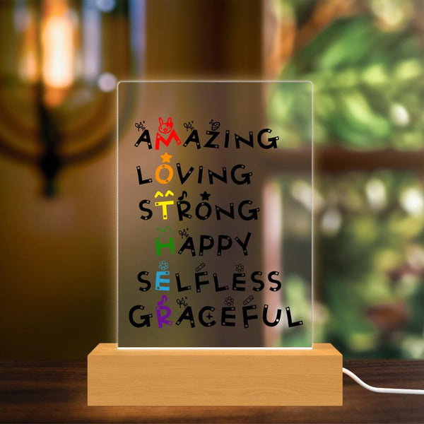 Mothers Day Gift Sign Acrylic Lamp Custom Plaque Light Decor Wooden stand