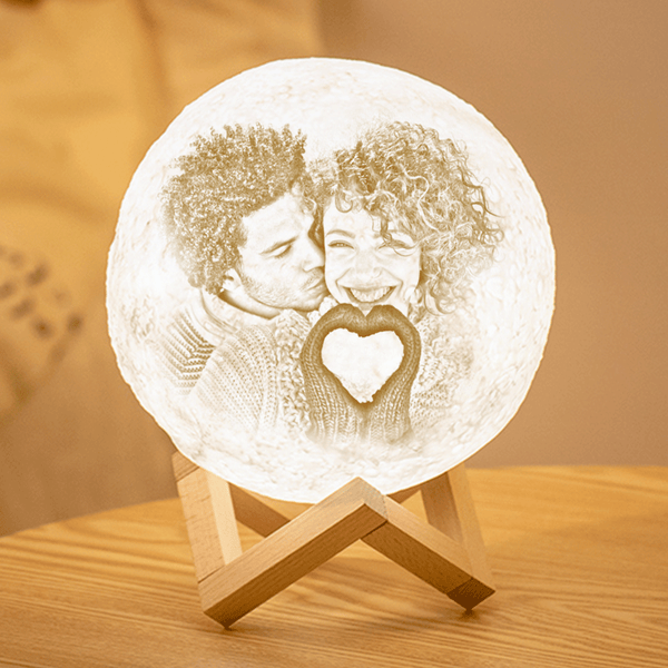 Custom 3D Printing Photo Moon Lamp With Your Text - Touch Two Colors(10cm-20cm)