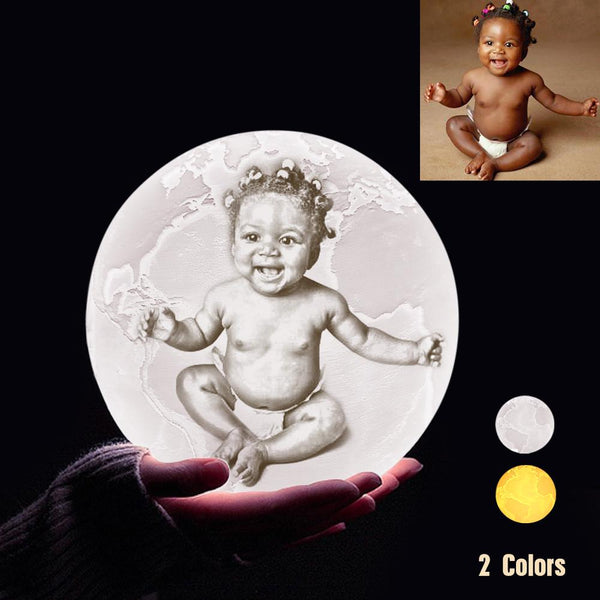 Custom 3D Printing Photo Earth Lamp With Your Text - For Baby - Touch Two Colors(10cm-20cm)