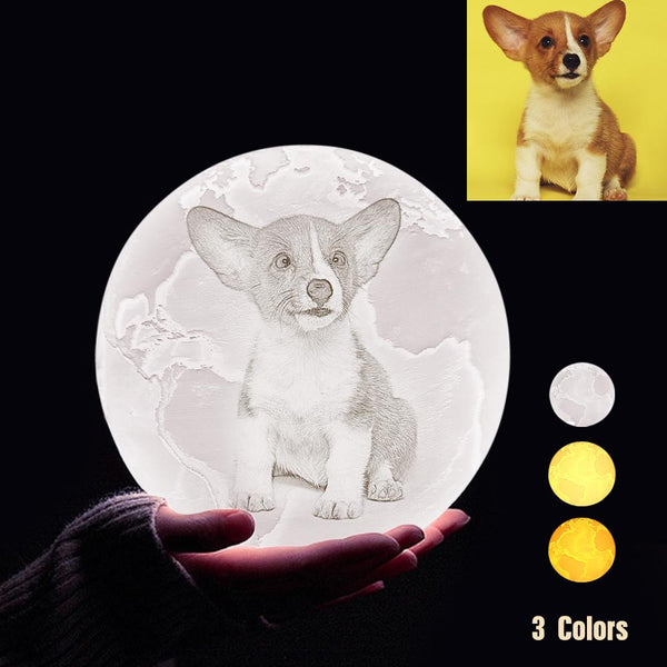 Custom 3D Printing Photo Earth Lamp With Your Text - For Pet Lover - Tap 3 Colors(10cm-20cm)