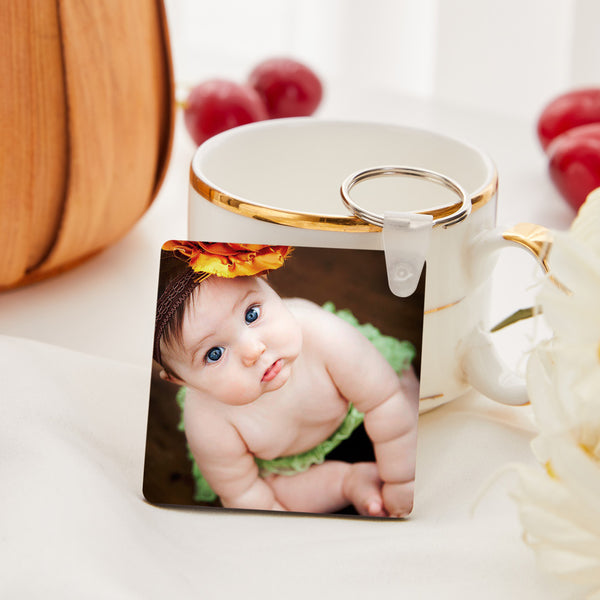 Custom Square Shape Double-sided Photo Keyring