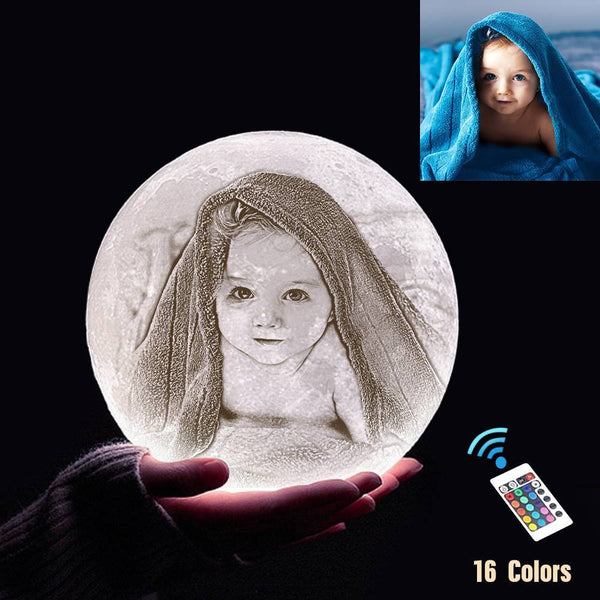 Custom 3D Printing Photo Moon Lamp With Your Text - For Baby - Remote Control 16 Colors(10cm-20cm)