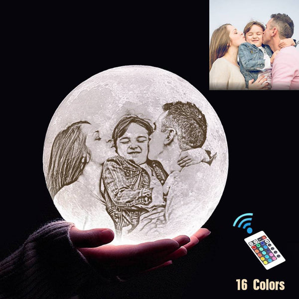 Custom 3D Printing Photo Moon Lamp With Your Text - For Family - Remote Control 16 Colors(10cm-20cm)