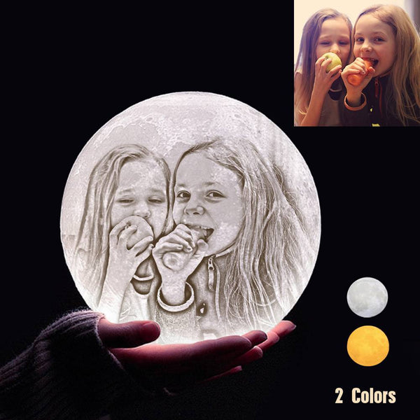 Custom 3D Printing Photo Moon Lamp With Your Text - For Baby - Touch Two Colors(10cm-20cm)