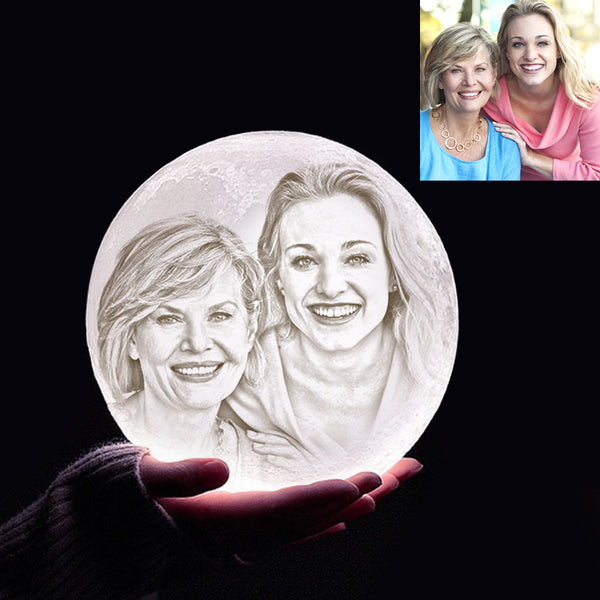 Custom 3D Printing Photo Moon Lamp With Your Text - For MUM - Touch Two Colors A(10cm-20cm)