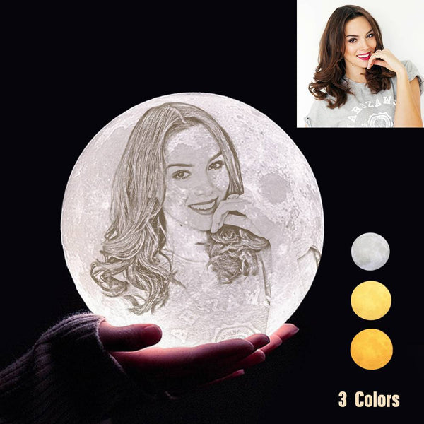 Custom 3D Printing Photo Moon Lamp With Your Text - For Lover - Tap 3 Colors(10cm-20cm)