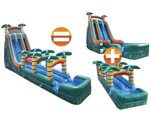 22'H Dual Lane Tropical Slide w/ Slip n Slide