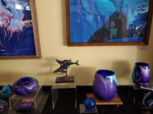 Hand blown glass vases Purple and Blue