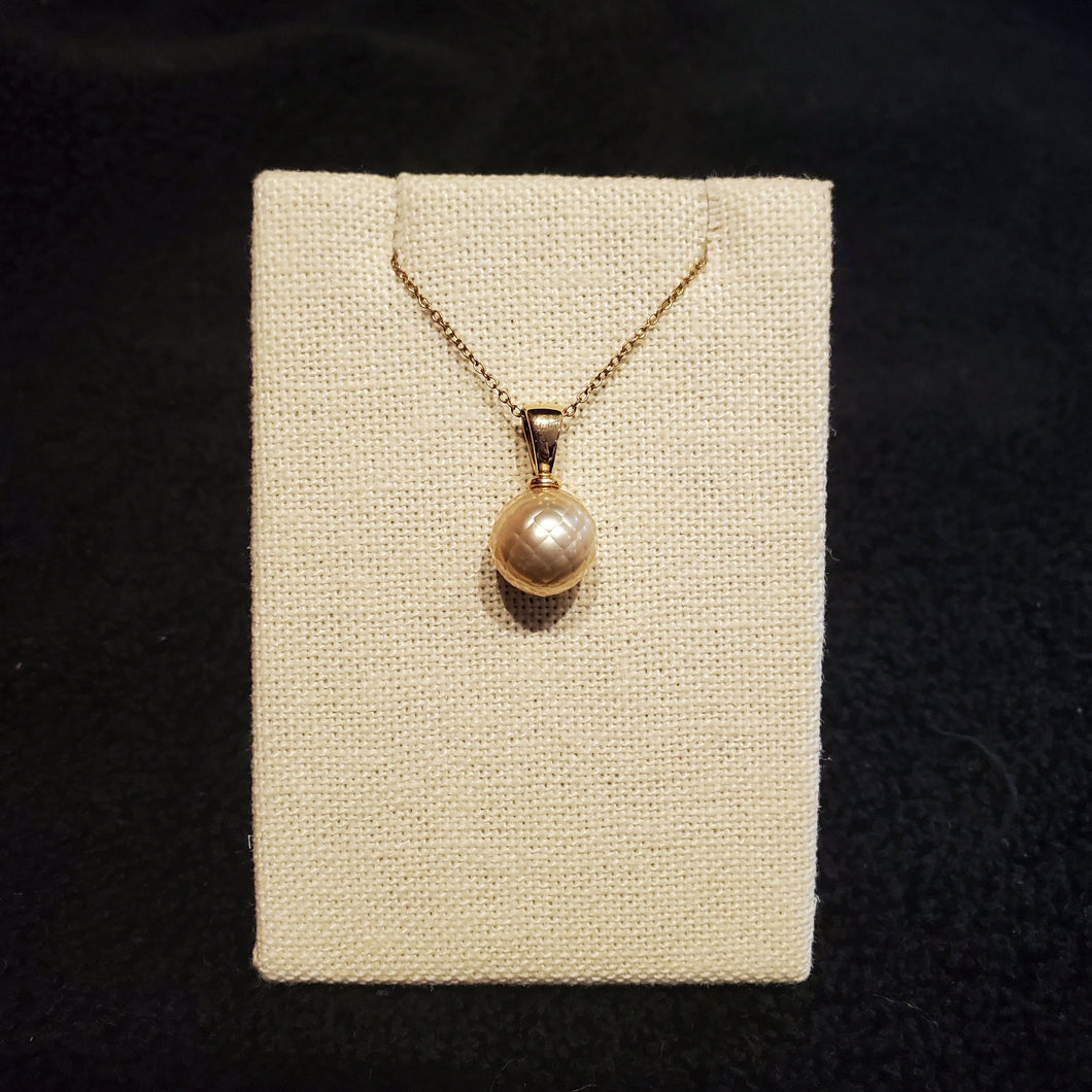 Rare South Seas Golden Pearl Faceted Pendent 14K