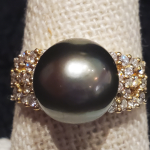 Aloha Tahitian Pearl Ring with Diamonds