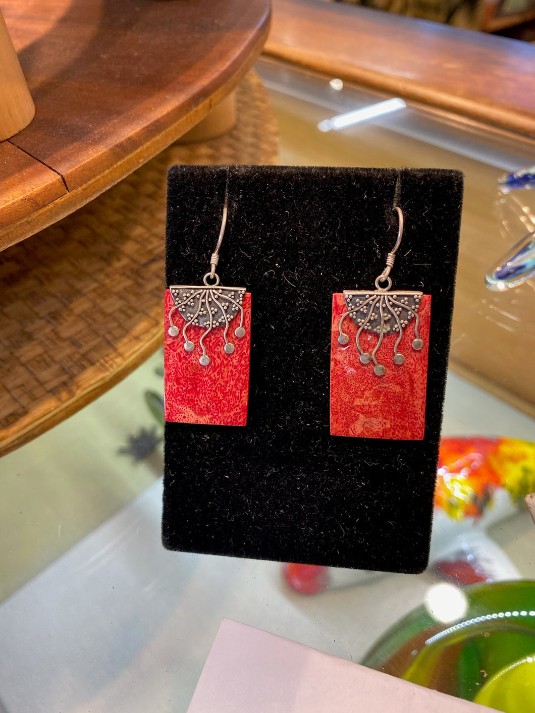Red Coral Earrings Filigree
