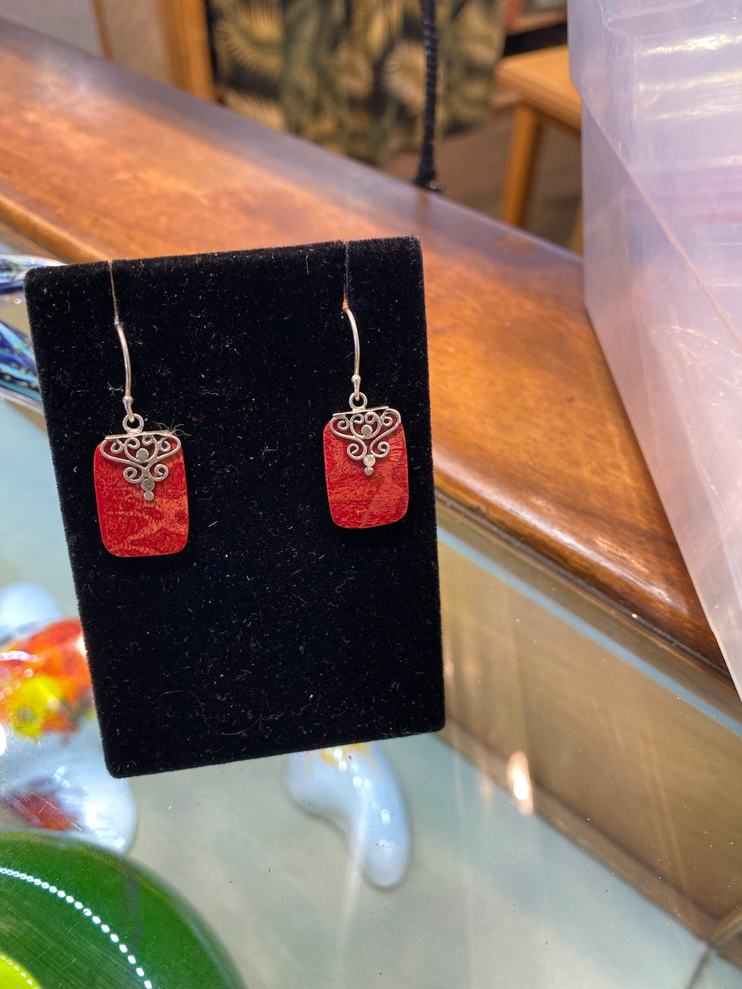 Red Coral Earrings Rectangle with silver