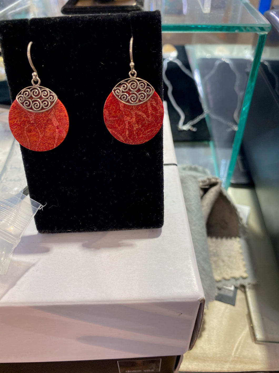 Red Coral Earrings W/ Sterling Silver Round