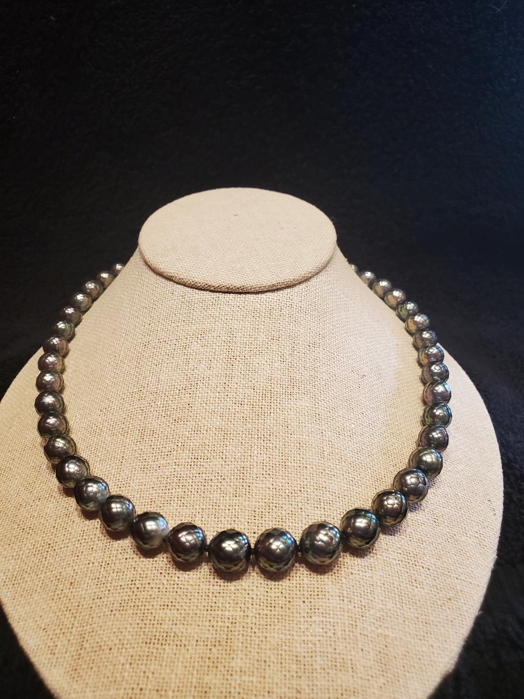 Faceted Tahitian Pearl Necklace Strand Rare