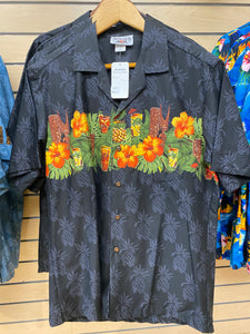 Hawaiian Handmade Black Tiki Aloha Shirt