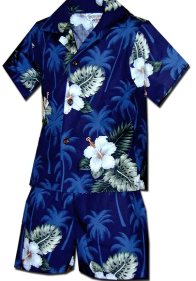 Boys Aloha Shirt and Short Set Blue Palms