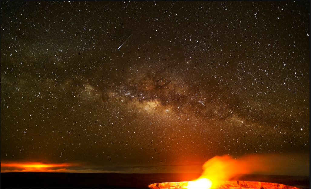 Hawaiian Volcano Photo with Shooting Star!