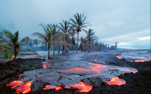Hawaiian Photo Black Sand Beach covered in Lava