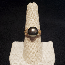 Load image into Gallery viewer, Aloha Tahitian Pearl Ring with Diamonds