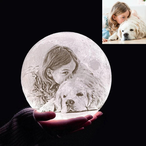 Custom 3D Printing Photo Moon Light With Your Text-For Pet Lover-Tap 3 Colors(10-20cm)