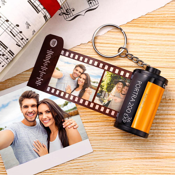 Anniversary Gift Custom Spotify Code Camera Roll Keychain Kodak for Love 5-20 Pictures Yellow Shell