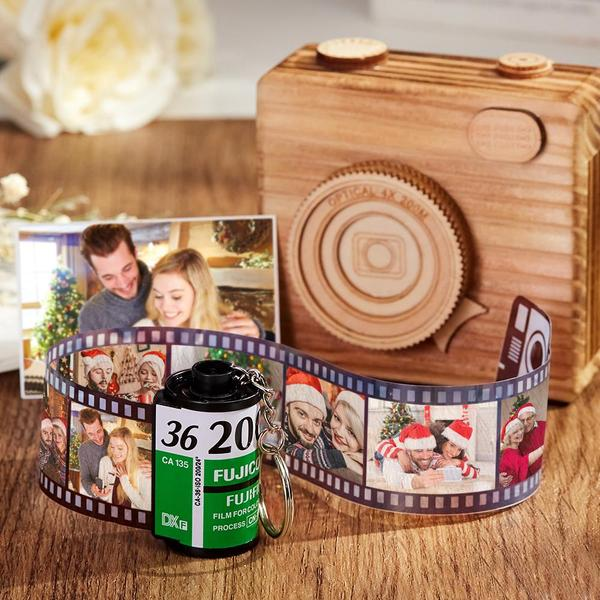 Custom Fuji Camera Roll Keychain Multiphoto Gifts - Couple