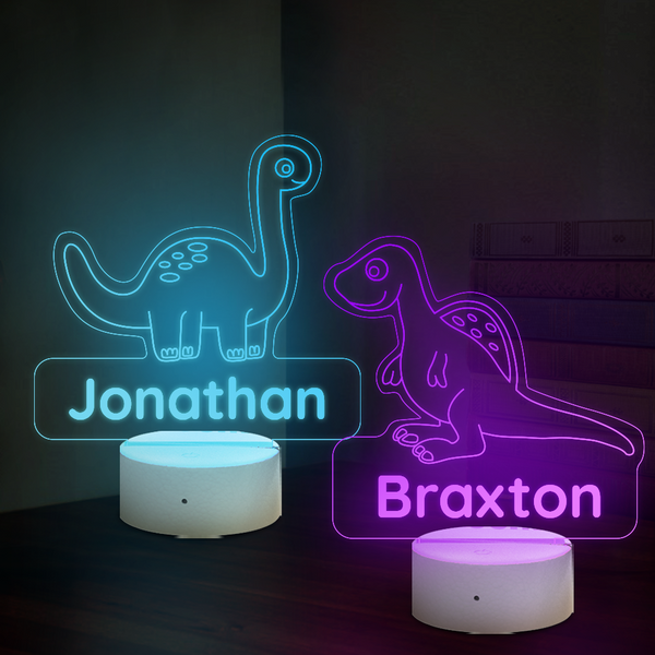 Personalised Dinosaur Lamp With Custom Name Night Light Kid's Bedroom Decor Children's Light Kids Room