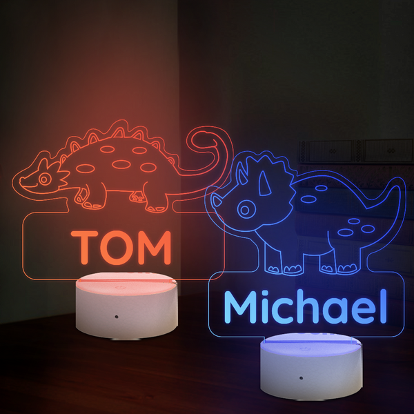 Personalised Ankylosaurus Triceratops Dinosaur Lamp With Custom Name Night Light Kid's Bedroom Decor Children's Light Kids Room