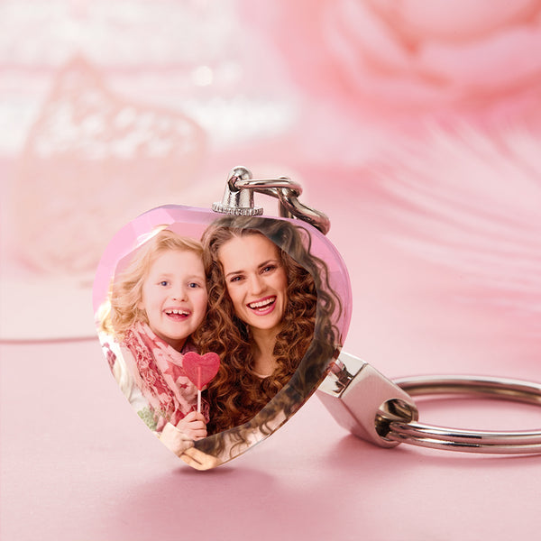 Mother's Day Gift Photo Crystal Heart Keyring With Led Light - For MOM