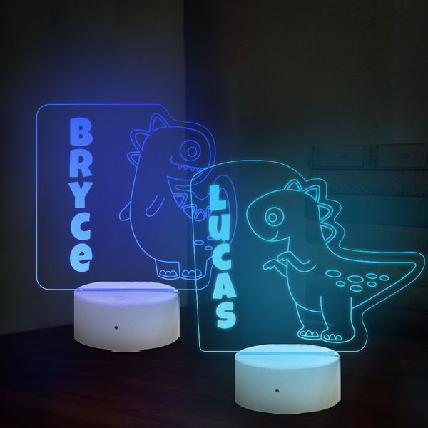 Personalized Tyrannosaurus Rex Dinosaur Lamp With Custom Name Night Light Kid's Bedroom Decor Children's Light Kids Room